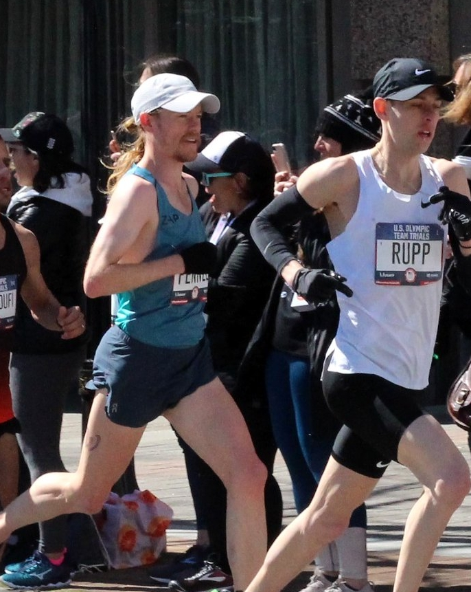 Tyler racing the Olympic Marathon Trials to conclude his marathon training plan.